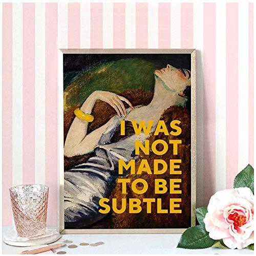 XingChen Wandbilder 60x80cm ohne Rahmen Feministische Kunst Zitate Kunstmalerei Bild Ölgemälde Poster Feministische Geschenke für ihre Mädchen Zimmer Wohnkultur