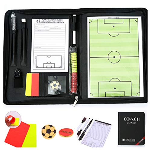 CHSEEA Fußball Taktikmappe mit Reißverschluss, Taktiktafel Fussball Coach-Board Coach Mappe für Professional Fußball Trainer mit Taktik-Notizblock, Magnete, Stifte, Radiergummi #3