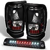 For 1994-2001 Dodge Ram 1500 2500 3500 Black Tail Lights + LED 3rd Brake Light Lamp Combo
