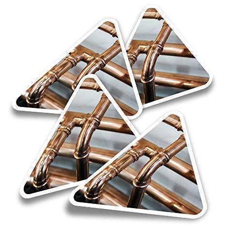 Pegatinas triangulares de vinilo (juego de 4) – Tubos de cobre, fontanero, calentamiento, divertidos adhesivos para portátiles, tabletas, equipaje, reserva de chatarra, neveras #21393