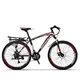 QJWY-Home 24 Mountain Bike Bicicletas montaña Doble Freno de Disco Suspensión de Horquilla Suspensión Trasera Bicicletas Antideslizantes Unisex MTB -Black Red 26 inches-24 Speed