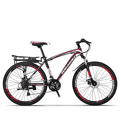 QJWY-Home 24 vitessesVélo de MontagneDouble Frein à Disque Suspension Fourche Suspension Arrière Antidérapant Vélos Unisexe Vélo de Montagne-Black Red 26 inches-24 Speed