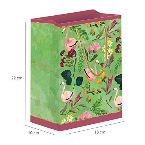 3 mittlere Geschenktüten/Tüten aus Papier, perfekt für Geschenke geeignet, Flamingos, retro, nostalgie, set, 18 x 22 x 10 cm