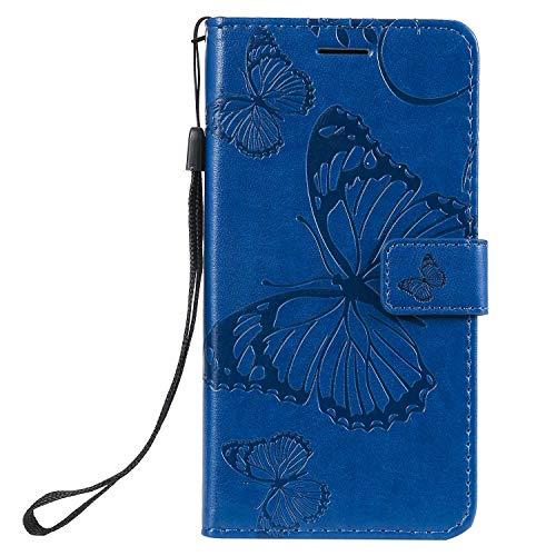 DENDICO Hülle für Xiaomi MI 9 SE, PU Leder Handyhülle Schutzhülle mit Standfunktion & Kartenfach für Xiaomi MI 9 SE - Blau
