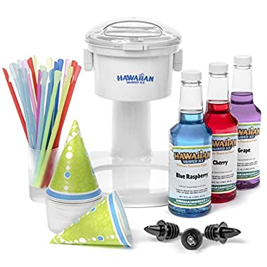 S700 Snow Cone Machine, 25 Snow Cone Cups, 25 Spoon Straws, & Black Bottle Pourers | Snow Cone Machine and Syrup Party Package by Hawaiian Shaved Ice | Kit Features Top 3 Snow Cone Syrups