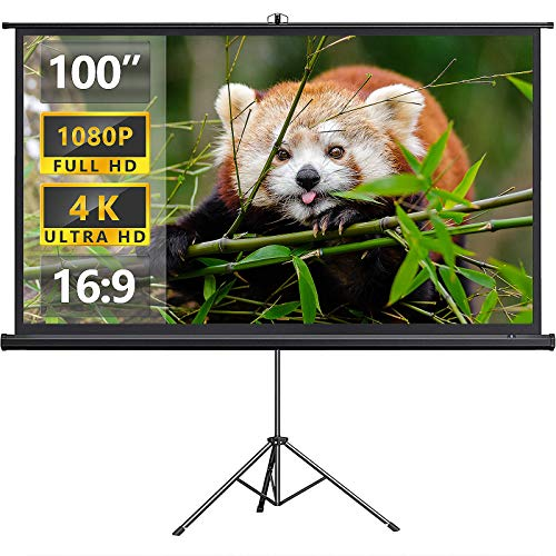 Abdtech Projector Screen with Stand 100 Inch - 4K HD 16:9 PVC Projector Screen for Home Backyard - Indoor Outdoor Movie Screen with Tripod Carry Bag Wrinkle Free for Meeting Office