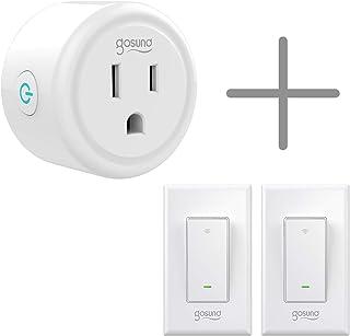 Gosund Smart Wifi Plug and Light Switch Bundle, Smart Plug 1pcs and Smart Light Switch 2pcs that Compatible with Alexa and Google Home