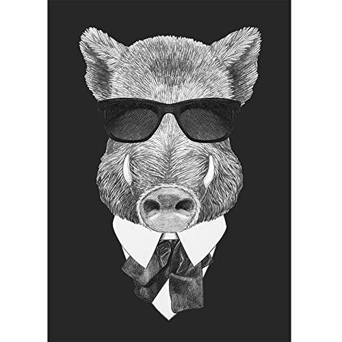 ZSHDBF Leinwanddrucke Wandkunst Dekor Gemälde,Schwarze Und Weiße Tier Wildschwein Brillen Home Decor Artwork Poster Leinwand Malerei Wand Kunst Bilder Für Wohnzimmer Schlafzimmer Kein Frame