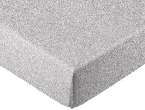 AmazonBasics - Spannbettlaken, melierter Jersey-Stoff 140g/m², Grau - 90 x 200 x 30 cm