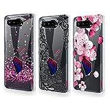 QFSM 3 Pack Hülle für Asus ROG Phone 5 Einfacher Stil Schutzhülle Transparent TPU Weich Tasche Silikon Handyhülle Schale Handyfall Hülle - Liebe + Schwarze Blume + Pfirsichblüte