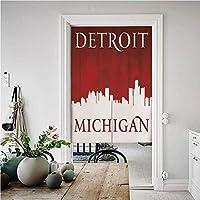 デトロイトの装飾 のれん おしゃれ 目隠し 幅85cm×丈150cm ミシガンシティシルエット赤と白の組成古典的なタイポグラフィ おしゃれ ロング 居酒屋 店 部屋 玄関 入り口 間仕切り インテリア 赤と白