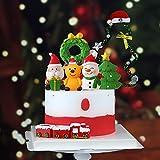 JeVenis 5 PCS Christmas Cake Topper Christmas Cake Decoration Deer Cake Topper Snowman Cake Decoration Gingerbread Man Cupcake Decoration