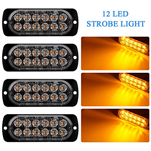 Ámbar Luz Estroboscópica de Emergencia 12 LED Luz Intermitente de Advertencia de Luces Beacon Universal para 12-24V Car Truck Trailer Caravan (paquete de 4)