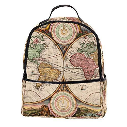 TIZORAX Laptop-Rucksack mit Weltkarte, lässiger Schultertasche, Tagesrucksack für Studenten, Schultasche, Handtasche – leicht