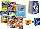100 Pokemon Cards - Featuring 10 Rares! Bonus 4 V Ultra Rares in Every Bundle! Includes Golden Groundhog Treasure Chest Box!