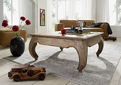 MASSIVMOEBEL24.DE Massivmöbel Palisander Couchtisch 60x60 Holz Möbel massiv Sheesham hell braun Opium #630