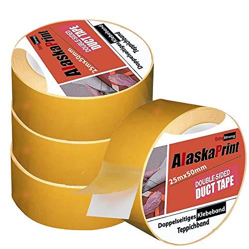 Alaskaprint 4x Doppelseitiges klebeband extra stark Beidseitiges doppelseitiges Verlegeband Teppichband für alle Teppiche, Fußbodenheizung, PVC Beläge und Räume geeignet I 50mm x 25m