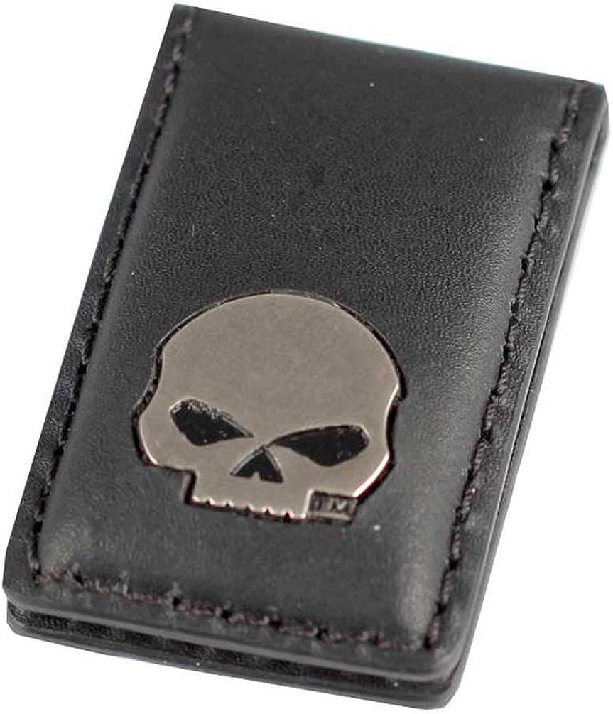 Harley-Davidson Mens Willie G Skull Medallion Leather Magnetic Money Clip, Black