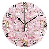 Azalea Store - Reloj de pared circular con forma de corazón, color rosa, silencioso, sin tachuelas, para cocina, dormitorio, hogar, oficina, escuela, niños, niñas, relojes