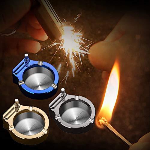 TUDUZ Retro Metall Aschenbecher mit Feuerstein, Zehntausend Match Feuerzeug Multifunktionsaschenbecher, für Zuhause, Büro, Zimmer, Café, Auto, Dekoration, Geschenke (C+B+A)
