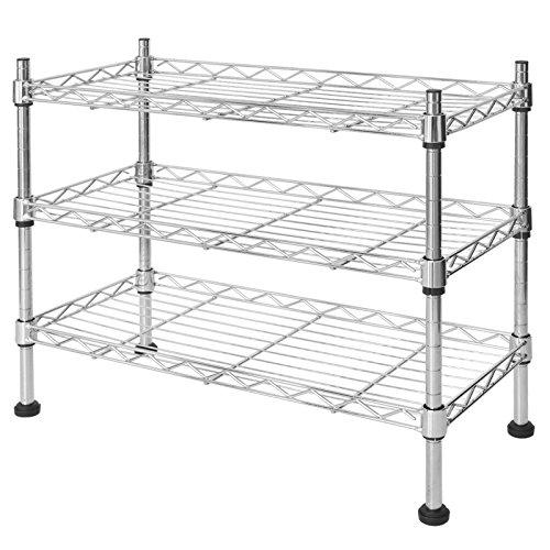 casa pura® Küchenregal Leon | platzsparende Lagerung in Küche und Badezimmer | Nischenregal mit 3 Etagen | aus rostfreiem Stahl | 45x45x20 cm (BxHxT)