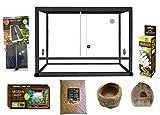 RéPTILES Planet Elégance - Kit terrario de Aluminio para Serpiente, 62,5 x 45 x 45 cm, Color Negro