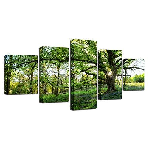 Leinwand Gemälde Framework HD Drucke Bilder 5 Stück Waldgrüne Bäume Landschaft Poster H e Dekor für lebende Wandkunst