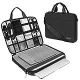 ARVOK Funda para portátil de Estuche para Accesorios con Correa y asa, maletín para Ordenador portátil Maletín para Acer/ASUS/DELL/Lenovo/HP (15.6-Pulgadas, Negro)