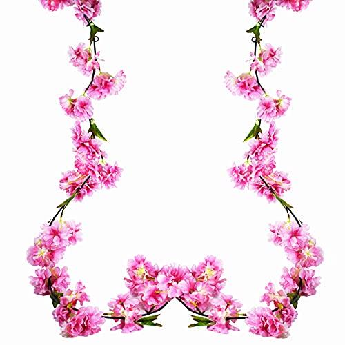 2 Piezas 180cm Guirnalda de Flores de Cerezo Artificiales Colgante Vines Flores de Seda Guirnaldas de Vid Colgante Flores Artificiales con Hojas para Familiar la Fiesta Jardín Boda Navidad Decoración