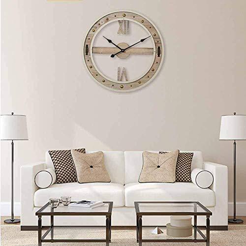 Reloj de pared de madera, decoración de rayos solares 3D, relojes silenciosos, grandes relojes de...