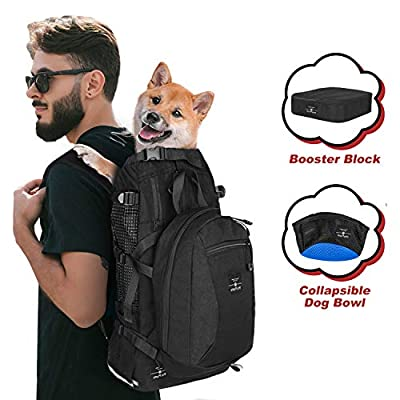 PROPLUMS Dog Carrier Backpack for Small and Medium Dogs Pet Sport Sack Air for Walking Hiking and Traveling with Detachable Storage Bag Free Booster Block and Dog Bowls (L, Black)