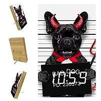 寝室用デジタル目覚まし時計キッチンオフィス3アラーム設定ラジオウッドデスククロック-かわいい悪魔のパグ犬