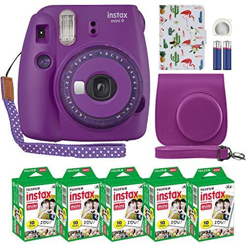Fujifilm Instax Mini 9 Instant Camera Clear Purple with Clear Accents with Custom Case + Fuji Instax Film Value Pack (50 Sheets) Designer Photo Album for Fuji instax Mini 9 Photos
