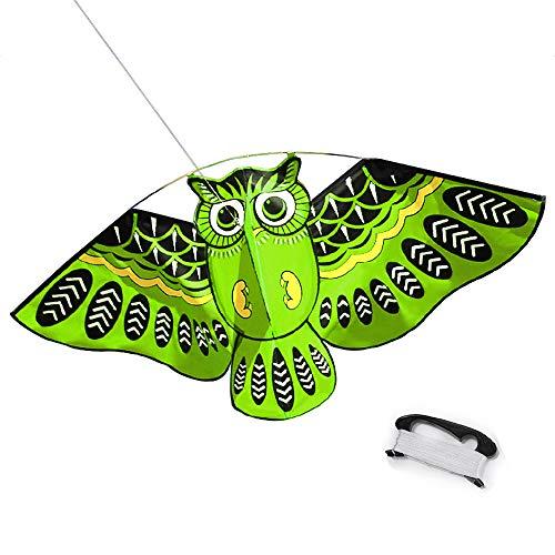 Mayco Bell Dibujos Animados Coloridos búho Volando Cometa con Kite Line Easy Fly Kite con 50M Line Juguetes para niños Niños Regalo Herramienta al Aire Libre (Verde)