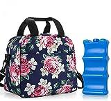 Teamoy Kühltasche für 6 Milchflasche (bis zu 270 ml), Isolierte Flaschenhalter mit Kühlelement für Babyflaschen, Muttermilch Kühlbox für Unterwegs, Transport, Arbeit, Reise, Pfingstrose