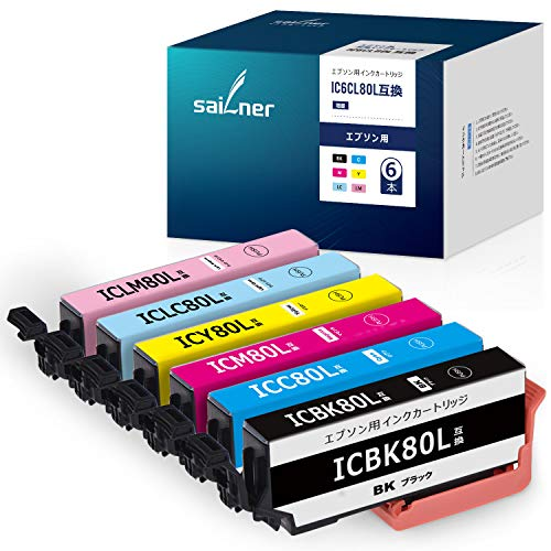 [SAILNER] IC6CL80L EPSON用 80L エプソン 互換インク 6本セット 残量表示 対応機種 EP-707A EP-807AR EP-808AW EP-977A3 EP-979A3 EP-982A3