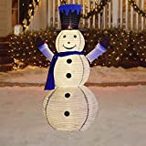 Vanthylit Pre-lit Collapible Christmas Snowman Lights 6FT 120LT Warm White with Twinkle Lights, Foldable/Pop Up Decorations Snowman for Xmas Indoor Outdoor Decor