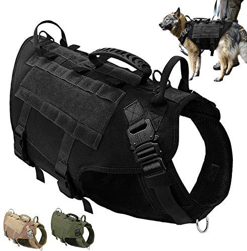 PET ARTIST K9 Hundegeschirr für mittelgroße und große Hunde, zum Wandern, kein Ziehen an der Vorderseite, Molle-Weste für Hunde, Schwarz, (Brustumfang 80-105cm)