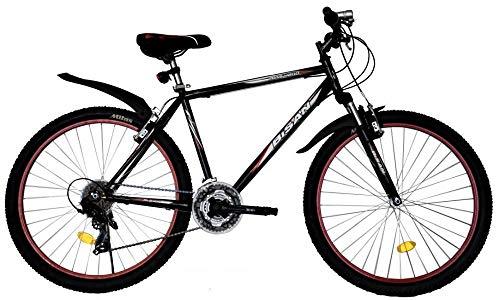 T&Y Trade 26 Zoll Kinder Jugend Mädchen Herren Jungen Damen MTB Fahrrad Mountainbike FEDERGABEL JUGENDFAHRRAD KINDERFAHRRAD Bike Rad 21 Gang Beleuchtung STVO 4200 SCHWARZ ROT
