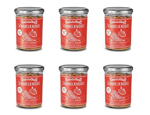 6x Knödelkult Klassiker Reloaded - Semmelknödel mit Speck und Zwiebeln im 350 g Glas - 100% gerettetes Brot
