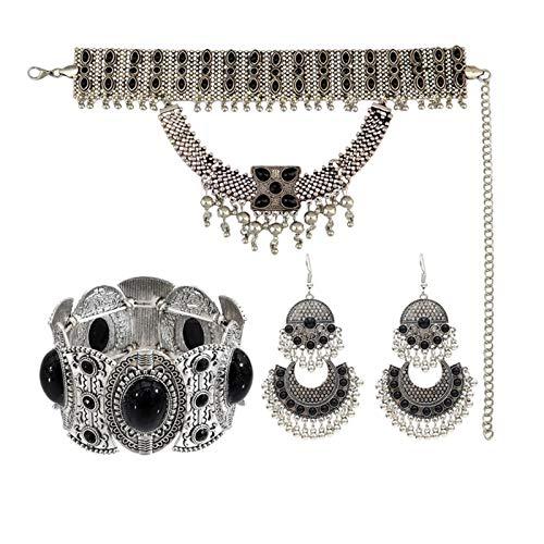 DSJTCH Gypsy Indian Necklace Afgano Tassel Oxidado Moneda Jhumka Pendientes y Pulsera y Collar y Cintura Cadenas de Vientre Boho Joyas turcas Conjuntos (Metal Color : 3 Black Set)
