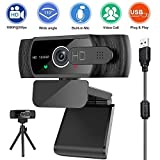 Upgraded 1080P 30fps Webcam with Microphone, Sherry Wide Angle Web Camera with Privacy Cover &Tripod,Plug and Play USB Camera for PC Laptop Streaming, Game Recording, Conferencing