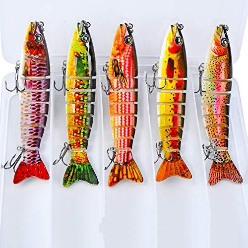 Señuelos De Pesca Artificiales 3D Minnow, Señuelos De Pesca con Señuelos Duros para Nadar, Señuelos De Agua Dulce De Agua Salada para Leucomas De Trucha Lubina,C