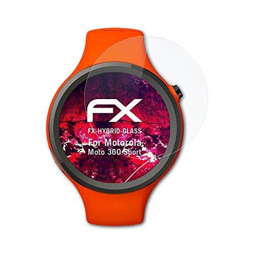 atFoliX Glasfolie kompatibel mit Motorola Moto 360 Sport Panzerfolie, 9H Hybrid-Glass FX Schutzpanzer Folie