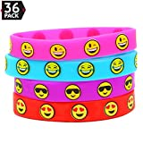 Big Mo's Toys Emoji Silicone Bracelets Party Favors - Pinata / Goody Bag Fillers for Every Event - 36 Pieces