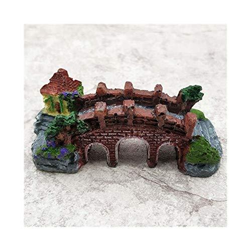 XinXinFeiEr Hermoso Escalada Creativa Resina Resina decoración del Acuario acuarios Castillo Tortuga de Ojos Puente de Acuario Tanque Paisaje Tres (Color, Size : One Size)