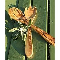 Figura Santa Cubiertos para Ensalada Primavera de Aproximadamente 30 cm- Madera de Olivo barnizada. Finamente veteada, Trabajo Artesanal. Manufacturación Original