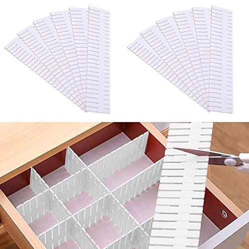 12 Piezas Separadores de Cajones,DIY Organizador Cajones Plástico ,Plástico Separador de Armario ,Rejilla Ajustable Separadores Cajones,para Ropa Interior Calcetines (37*7cm)