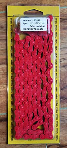 Yaban 6/7/8-Speed Bicycle Teflon Chain 1/2' x 3/32' 116L, 18/21/24-Speed MTB/Road - Teflon Painted Red