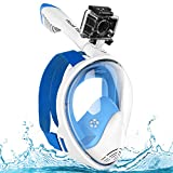 Full Face Snorkel Mask, Advanced Safety Breathing System Allows, You to Breathe More Fresh Air While Snorkeling, 180 Panoramic Anti Fog Anti Leak Foldable Snorkeling Mask for Adult and Kids